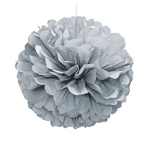 Unique Party- Pompón de papel de seda, Color plata, 40 cm (63204)