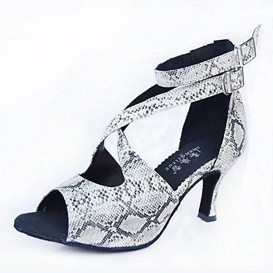 Ruhe @ Damen Wildleder Sohle Satin Tanzschuhe moderne/Salsa/Latin/Swing Schuhe Heel Schwarz Latin/DANCE Sneakers/Tippen schwarz / weiß