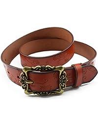 Cinturon de mujer Correa de cuero femenina de las señoras Correa de los pantalones vaqueros decorativos anchos tallados del estilo popular de la correa del todo-fósforo Cinturón para mujer