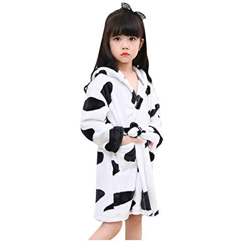 Kostüm Nase Kuh - chicolife Kinder Mädchen Jungen schwarz/weiß Bademantel Kuh Flanell Kostüm Loungewear Nachtwäsche 120
