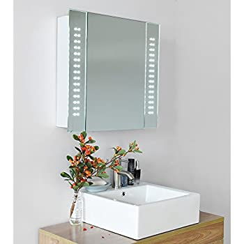 60 led iluminated bathroom mirror cabinet storage with sensor demister shever socket organzier best day gift present uk local