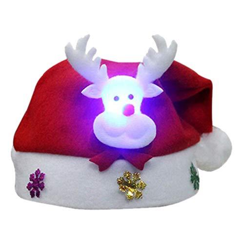 NAttnJf Lindo Gorro de Navidad con luz LED Dibujos Animados Ciervos Elk Snowman Gorro de Navidad para niños Adultos Niños Elk #