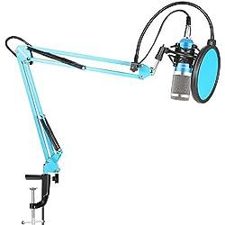 Neewer NW-800 Pro Estudio Radiodifusión Grabación Micrófono Condensador con NW-35 Microfono Ajustable Suspensión Tijera Brazo Soporte con Montura Choque Negro y Abrazadera Montaje Mesa,Pop Filtro-Azul