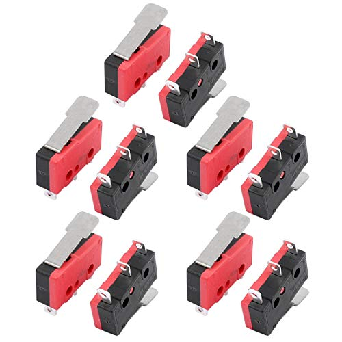 ZCHXD 10Pcs AC250/125V 5A 3 Terminals Momentary 17mm Lever Arm Micro Switch KW12-1I -