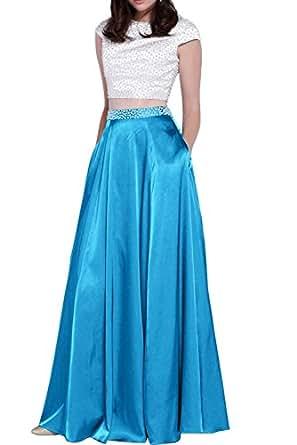 Bild nicht verfügbar. Keine Abbildung vorhanden für. Farbe: Gorgeous Bride  Hochwertig Abendkleider Zweiteilig Satin Paillette A-Linie Abendmode  Ballkleider ...