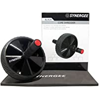 iheartsynergee Synergee Jet Black Core Shredder Ab Roller Wheel Includes Premium Knee Pad, and Training Guide | Strength Training Abdominal Wheel