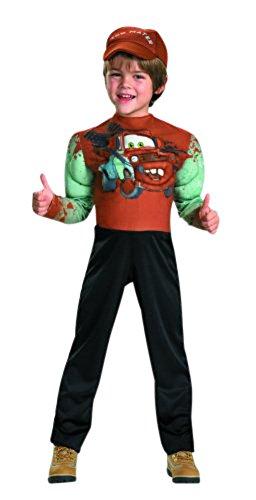 DISNEY CARS - MATER - Kinderkostüm - Deluxe Kostüm - mit Muskeln - Overall & Mütze 104-116 (US ()