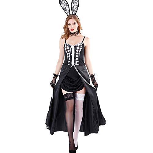Kostüm Playboy Party - HJG Häschen Cosplay Kostüm, Frauen Sexy Outfit Erwachsene Playboy Smoking Kaninchen Kellnerin Tier Kostüm, Rollenspiel Party Holloween Dessous,XL