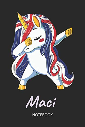 Maci - Notebook: Blank Lined Personalized & Customized Name Great Britain Union Jack Flag Hair Dabbing Unicorn Notebook / Journal for Girls & Women. ... Birthday, Christmas & Name Day -