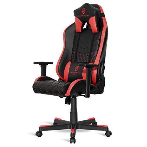 EMPIRE GAMING - Stuhl Gamer Mamba Rot - Qualitativ Hochwertiges Kunstleder, Form super bequemer Schalensitz speziell für Esport, Verstellbare 3D-Armlehnen + Lenden- und Nackenkissen inbegriffen.