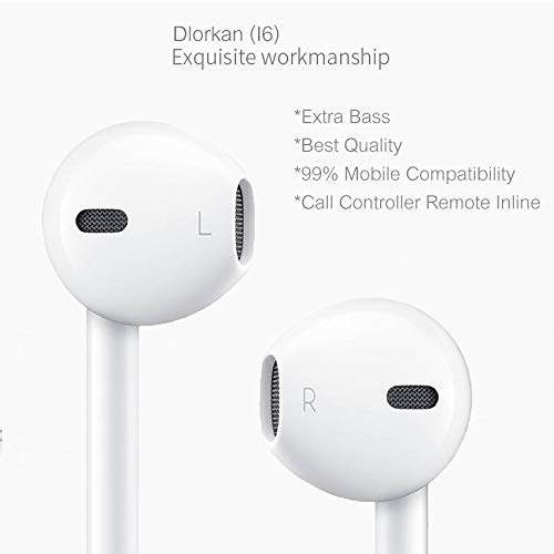 DLORKAN DL_D-I6-2637 for Apple iPhone 5s (Gold, 16GB) in-Ear Headphones/Earphone/Headsets Fab Sound 3.5mm Jack with Microphone and Call Controller (Color May Vary)