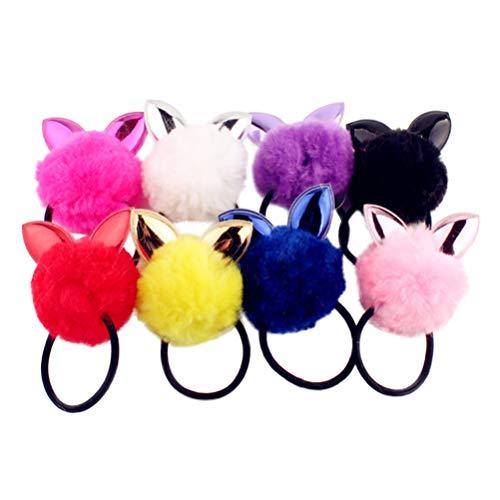 Minkissy - elastici per capelli con pompon a forma di orecchie di coniglio, confezione da 8 pezzi