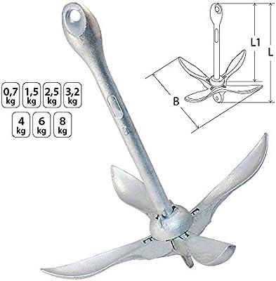 Ancla de plegado fijo de acero galvanizado en los pesos de 0,7 a 8 kg de Yachtglanz R.G.®