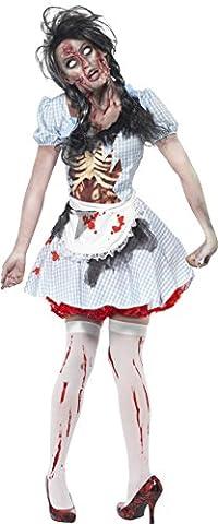 Smiffys, Damen Zombie-Countrygirl Kostüm, Kleid mit Latex Brustteil und Schürze, Größe: XS, (Mad Krankenschwester Halloween Kostüm)