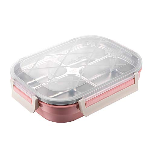 iHouse Isolierte rechteckige Brotdose mit Edelstahlfach, auslaufsicherer Lebensmittelbehälter, Mikrowellenheizung, Kinder, Brotdose für Erwachsene, 26,8 x 20,5 x 6,8 cm, pink -