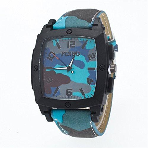 Souarts Herren Damen Armbanduhr Tarnung Farbe Quadratisch Zifferblatt Casual Analoge Quarz Uhr Hellblau 24cm