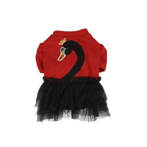 DealMux Nettes Schwan-Muster Tiered Pet Kleid / Röcke, X-Small, Rot Tiered Kleid