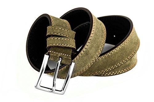 Cintura uomo RONCATO kaki in pelle scamosciata impunturata lunga 125 cm R4145