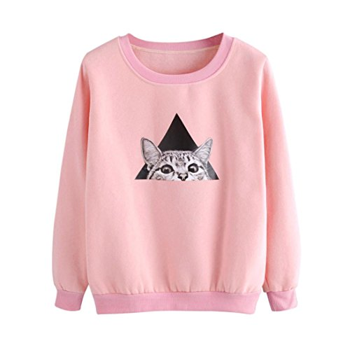 (TWIFER Damen Cat Langarm Hoodie Sweatshirt Kapuzenpullover Tops Bluse (S, Rosa))