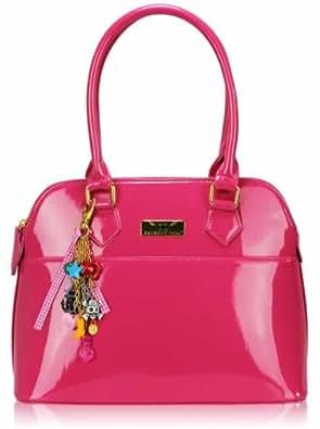 Femmes Rose Patent Fourre-tout Mode Bandoulière Sac à main KCMODE