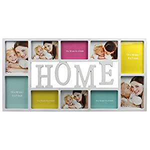 """Cadre photo 73x37cm multiple pour collage 10 photos avec lettres """"Home"""" Blanc 13x18 cm/15x10 cm"""