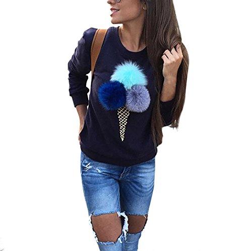 Donna Maglione Palla Peluche Manica Lunga Felpa Pulover Top Moda Girocollo Autunno Inverno Camicia Casual (bl, s)