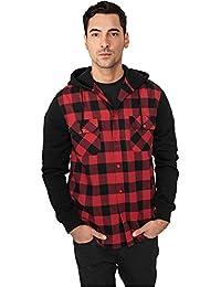 Urban Classic Herren Freizeithemd Hooded Checked Flanell Sweat Sleeve Shirt