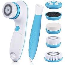 DBPOWER Cepillo Facial Eléctrico Limpiador 6 en 1 con Ajuste de 2 Velocidades para el Cuidado de la piel, Incluye un Mango Desmontable y 5 Cabezas de Cepillo con una Linda Bolsa Cosmética