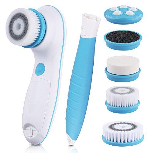 6 in 1 gesichtsbürste wasserdichte elektrische Gesichts- und Körperreinigungsbürste mit 2 Geschwindigkeitsmodi zur Hautpflegee samt abnehmbaren Griff und 5 Bürstenköpfen und praktischer Aufbewahrungstasche