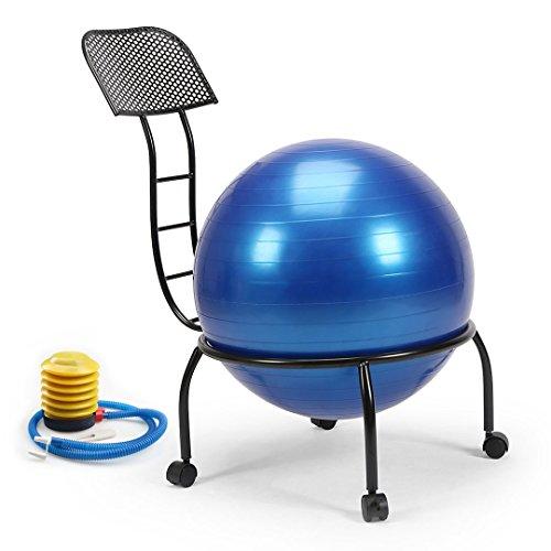 Exercise yoga ball chair home gym balance ball and chairs?metal frame with wheels