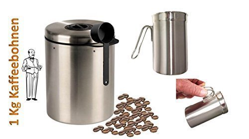Edelstahldose für 1 kg Kaffeebohnen mit Löffel und Geburtstagsaktion James Premium® + Milchschaumkännchen