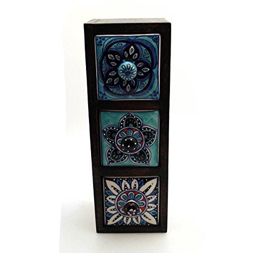 Kommode Mini Schrank Holz Schublade Keramik Möbel Bunt Dekoration Blau - Gall & Zick (3 Schübe 30cm Hoch)