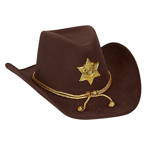 Juvale Cowboy-Sheriffhut aus Filz, Kostüm für lustige Party mit goldener Tresse, für Halloween, Büroparties (Weißer Filz Cowboy Hut Kostüm)