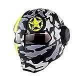 jiaxu Motorradhelm,Persönlichkeit MotorradHelm Iron Man Full Face Helm Retro-Stil Harley...