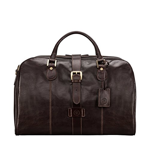Maxwell Scott Bags® Luxus Reisetasche aus Leder in Dunkelbraun