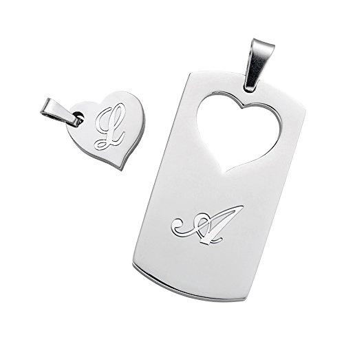 *Partner Halskette für sie und ihn – Herz-Anhänger und Dog Tag im Set – Personalisiert mit Initialen – Schmuck Geschenk für Verliebte – Partnerschmuck mit Gravur*
