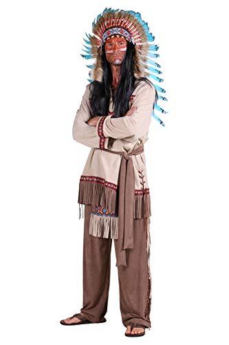 Indianer-Kostüm Herren Oberteil mit Fransen Hose mit Lendenschurz braun Adler Falke Apache Karneval Fasching Hochwertige Verkleidung Größe S Beige