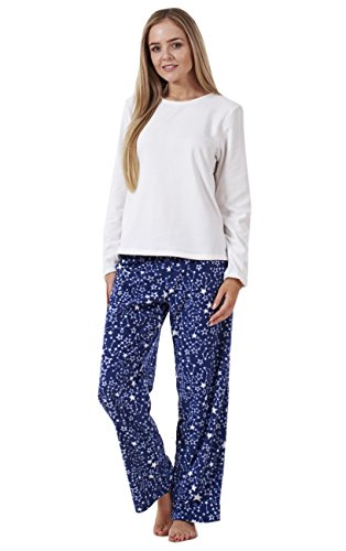 - 41R7FJadeIL - Ladies Gorgeous Printed Fleece Pyjama Set Womens PJ's Winter Warm Nightwear