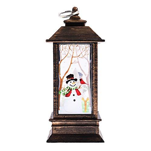 Sweet&rro17 Weihnachten Laterne LED Deko, Christmas Beleuchtung Lichterketten für Garten Weihnachten Party Innen und Außen, Batteriebetrieben AAA x 3(Klein,Braun,Schneemann) (Pixi-beleuchtung)