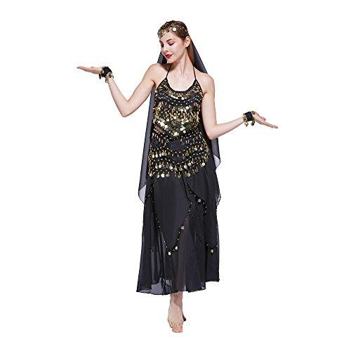 VENI MASEE Damen Bauchtanz Kostüm Set Sexy Kostüm Damen - Sechsteiliges Set - schwarz (Bauchtanz Kostüm Schwarz)