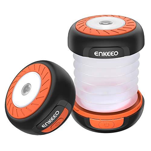 ENKEEO Mini Linterna Camping Plegable Ligera Impermeable con Foco y Gancho, 50 Horas Alimentada por Baterías AA (no incluidas) para Aire Libre, Acampada, Emergencias (Naranja)