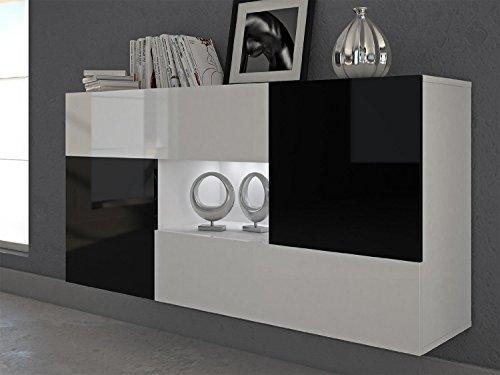 Labi Möbel Alfa Buffet - base : blanc mat, tiroirs : blanc brillant, portes : noir brillant