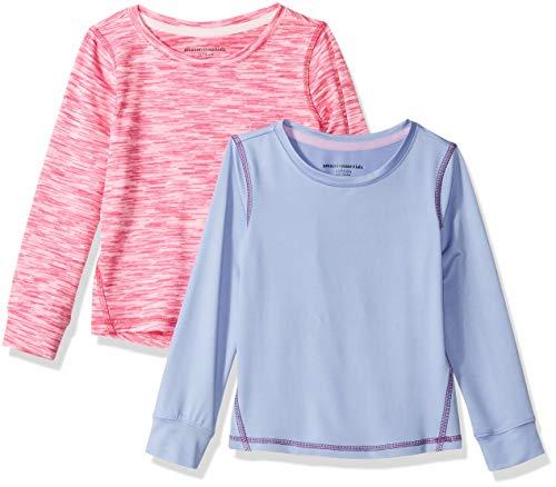 Amazon Essentials 2-Pack Long-Sleeve Active Tee T-Shirt Purple/Pink Spacedye 2T