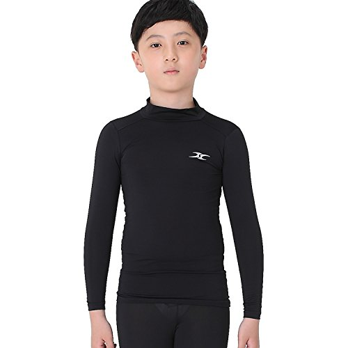 Kinder Kompression Shirts Jungen Youth Cool Long Sleeve Base Layer Top Baseball LK Gr. Large, Schwarz