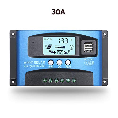 SolaMr 30A MPPT Solarladeregler 12V/24V Solarpanel-Batterie Laderegler mit LCD-Display und Doppeltem USB-Anschluss - 30A