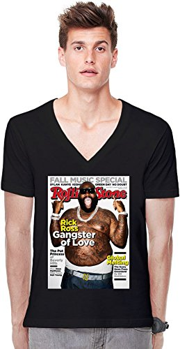 Zeus Apparel Rick Ross Rolling Stone Cover Deep V-Neck T-Shirt XX-Large -