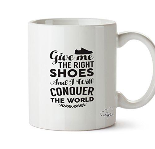 hippowarehouse Give me the right shoes und ich will Conquer The World Trainer 283,5Tasse, keramik, weiß, One Size (10oz) Grapevine Geschirr
