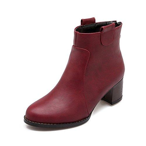 AgooLar Damen Niedrig-Spitze Reißverschluss Mittler Absatz Spitz Zehe Stiefel, Rot, 36
