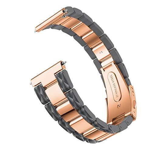 Deng Xuna Ersatz Uhrenarmband für Samsung Galaxy Watch 42mm, Damen Roségold Liebe Herz Edelstahl Smart Watch Armbänder für Samsung Galaxy Watch 42mm (Grau) (Watch Herz)