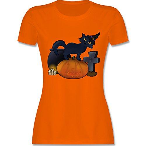 Halloween - Halloween Katze mit Hexenhut - XXL - Orange - L191 - Damen T-Shirt (Und Rot Das Kostüm Ist Schwarz Halloween Neue Orange)